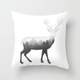 Deer Stag Elk Double Exposure Surreal Wildlife Animal Throw Pillow