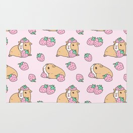 Pink Strawberries and Guinea pig pattern Rug