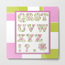 Children's alphabet for the twins . A colorful pattern for children . 2 Metal Print