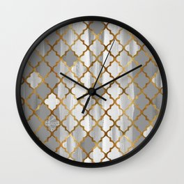 Moroccan Tile Pattern In Grey And Gold Wall Clock