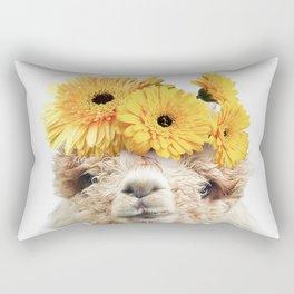 Alpaca with Yellow Flowers Rectangular Pillow