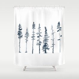 Navy Trees Silhouette Shower Curtain