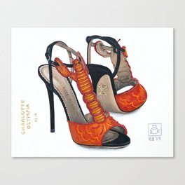 Charlotte Olympia's Lobster Shoe Painting Canvas Print
