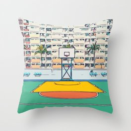 Ball is life - Baseball court Palmtrees Throw Pillow