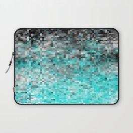 Aqua Gray Pixels Laptop Sleeve