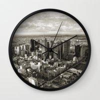 melbourne Wall Clocks featuring Melbourne City by Ewan Arnolda