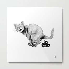 Pooping Kitty Metal Print