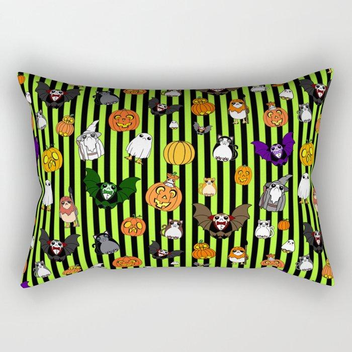 Galactic Penguin Halloween on Lime Stripes Rectangular Pillow