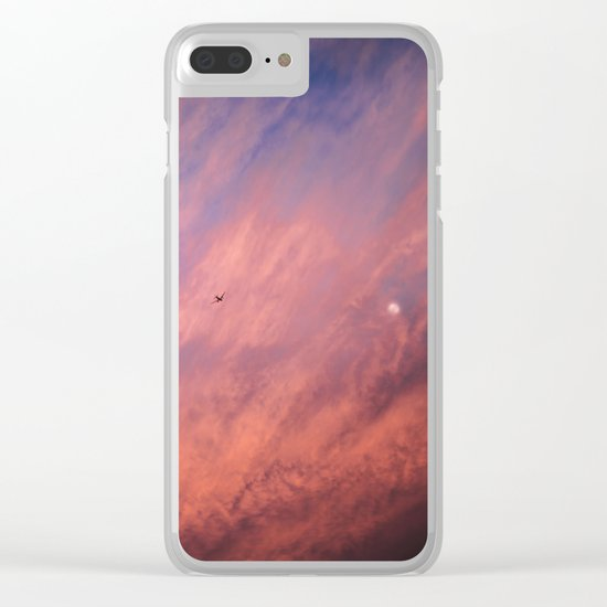 When a sunset meets the moon Clear iPhone Case