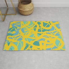 Yellow Green Acqua Abstract Organic Pattern Desig Rug