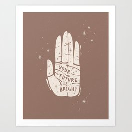 Your Future is Bright Hand Drawn Palmistry Illustration  |  Dusty Rose and Ivory | Alex Gold Studios Art Print