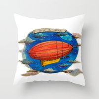 led zeppelin Throw Pillows featuring Zeppelin by sugu