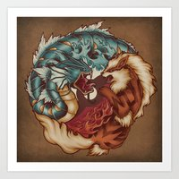 buddhism Art Prints featuring The Tiger and the Dragon by Megan Lara