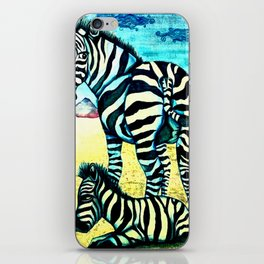 blue zebras iPhone Skin