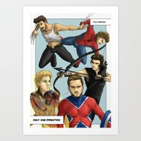 1d Art Prints featuring 1D superheroes by Aki-anyway