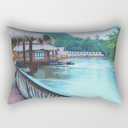 Scenic twilight view of countryside river boathouse Rectangular Pillow