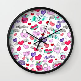 Lovely doodle drawing Valentine's Day gift Wall Clock