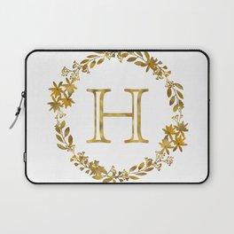 Monogram Letter H with Golden Wreath Laptop Sleeve