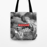 gta Tote Bags featuring Wasted GTA by JOlorful