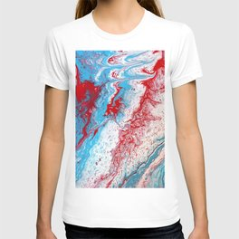 Marble Red Blue Paint Splatter Abstract Painting by Jodilynpaintings Red T-shirt