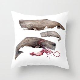 Sperm whale family Throw Pillow