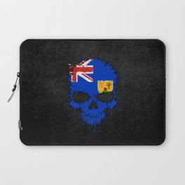 Flag of Turks and Caicos on a Chaotic Splatter Skull Laptop Sleeve