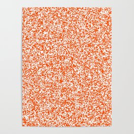 Tiny Spots - White and Dark Orange Poster