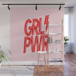 GRL PWR - GIRL POWER (Feminism typography design in red) Wall Mural