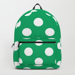 GO green - green - White Polka Dots - Pois Pattern Backpack