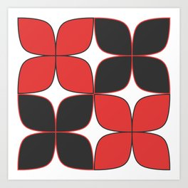 Mid-Century Modern Art - Flower Pattern Black Red Art Print