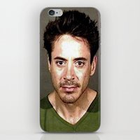 robert downey jr iPhone & iPod Skins featuring Robert Downey Jr. Mugshot by Neon Monsters