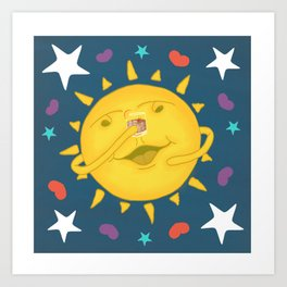 Cute, Funny Sunshine & Whiskey Cheers Cartoon Art Print