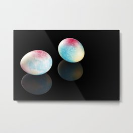 Colorful Easter Eggs on black background. Close-up Metal Print