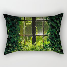 Green idyllic overgrown cottage garden window Rectangular Pillow