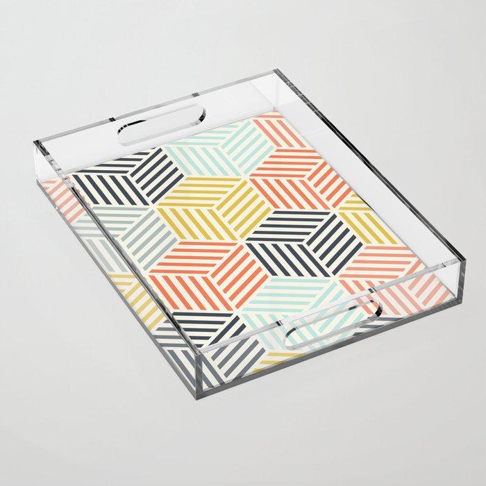 Colorful Geometric Pattern Acrylic Tray