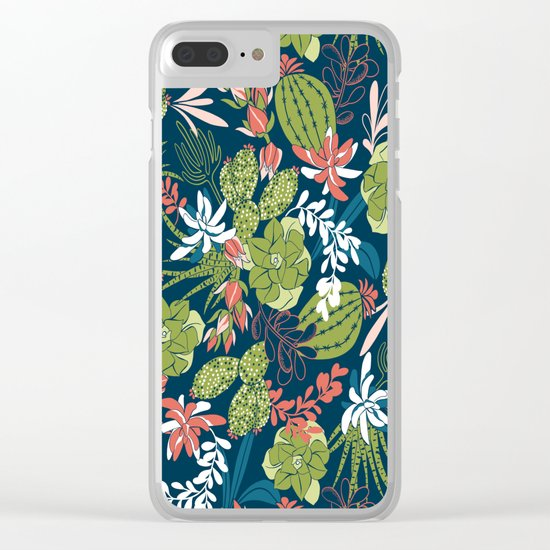 Succulent Garden Navy Clear iPhone Case