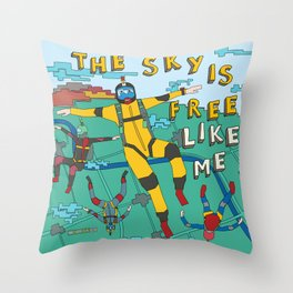 Skydive in the sky Throw Pillow