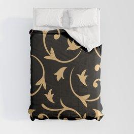 Baroque Design – Gold on Black Comforters