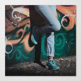 Aquamarine sneakers Canvas Print