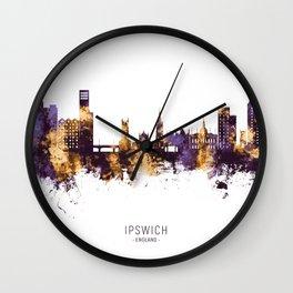 Ipswich England Skyline Wall Clock