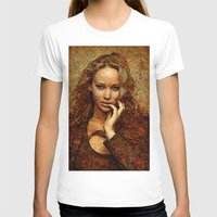 jennifer lawrence T-shirts featuring Portrait of Jennifer Lawrence by André Joseph Martin