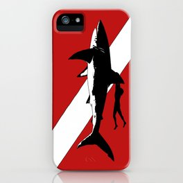 DIVER DOWN - great white shark dive iPhone Case