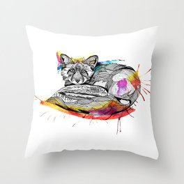 Watercolor Fox  Throw Pillow