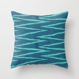 Wave Ride in Teal Throw Pillow