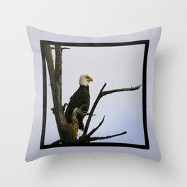 eagle striking a pose (square) Throw Pillow