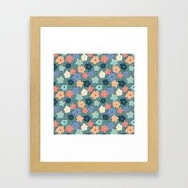 Peach and Aqua Flower Grid Framed Art Print
