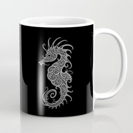 Intricate Gray and Black Tribal Seahorse Design Coffee Mug