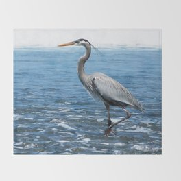 Great Blue Heron on the Pacific Coast in Costa Rica Throw Blanket