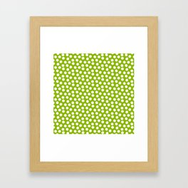 White Polka Dots on Fresh Spring Green - Mix & Match with Simplicty of life Framed Art Print