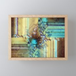 Teal and Brown Lined Abstract Framed Mini Art Print